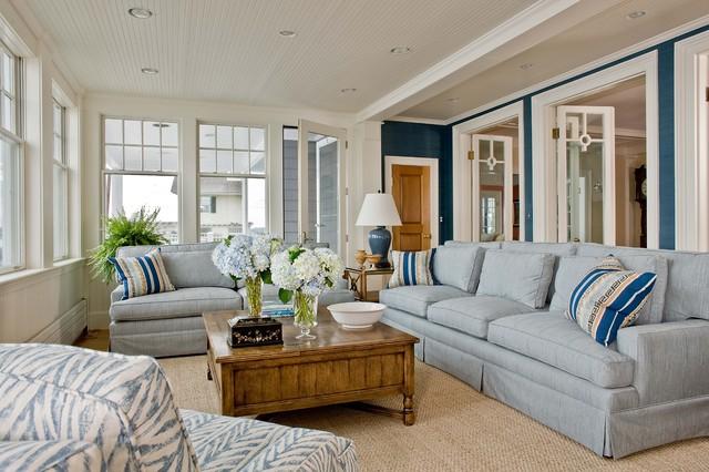 Marblehead Coastal Home beach-style-family-room