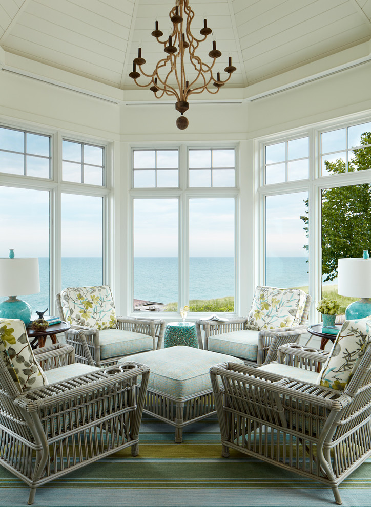 Example of a mid-sized beach style carpeted and multicolored floor sunroom design in Chicago with no fireplace and a standard ceiling