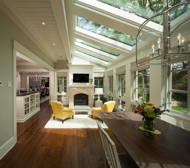 Modern twist on tradition transitional sunroom for Great room addition off kitchen