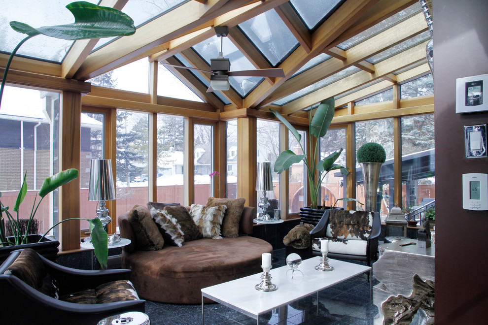Sunroom - transitional sunroom idea in Montreal with a glass ceiling