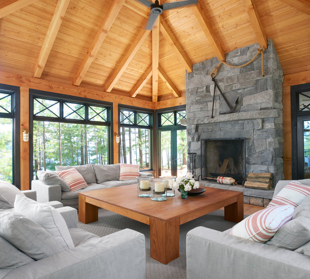 Example of a beach style sunroom design in Toronto