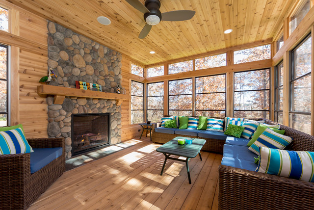 North Woods Lake Cabin Rustic Sunroom Minneapolis