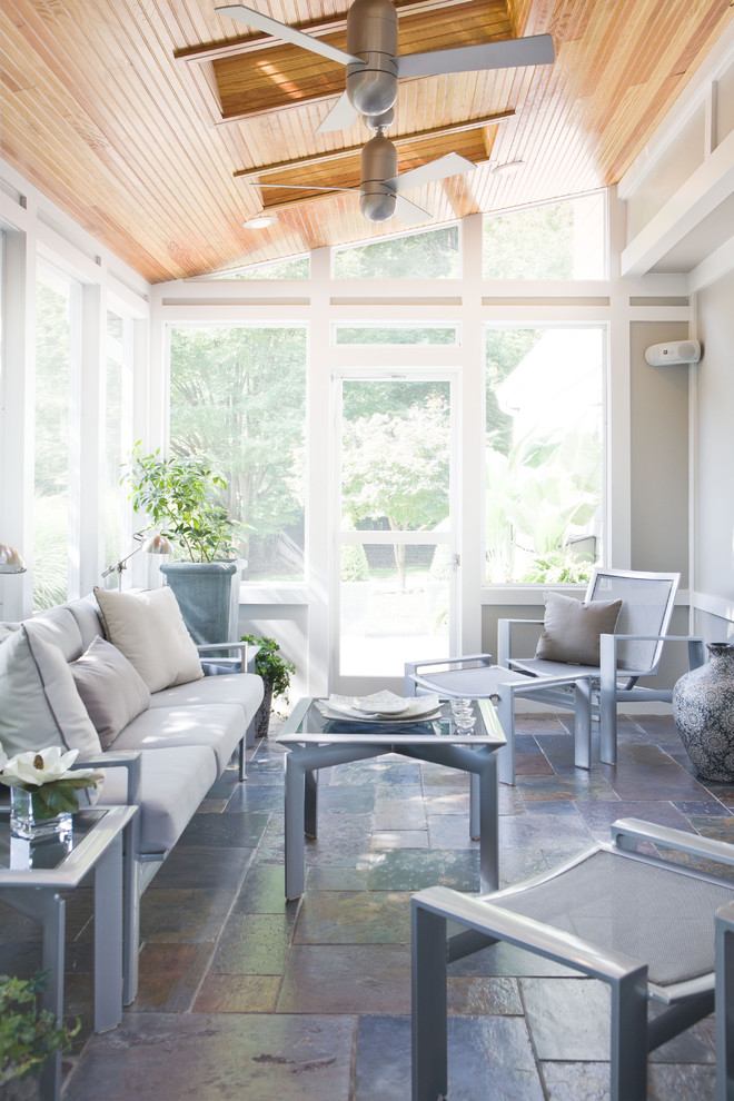 Transitional gray floor sunroom photo in DC Metro with a skylight