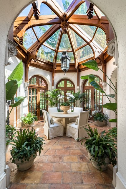 Inspiration for a timeless brick floor and red floor sunroom remodel in Atlanta with a glass ceiling