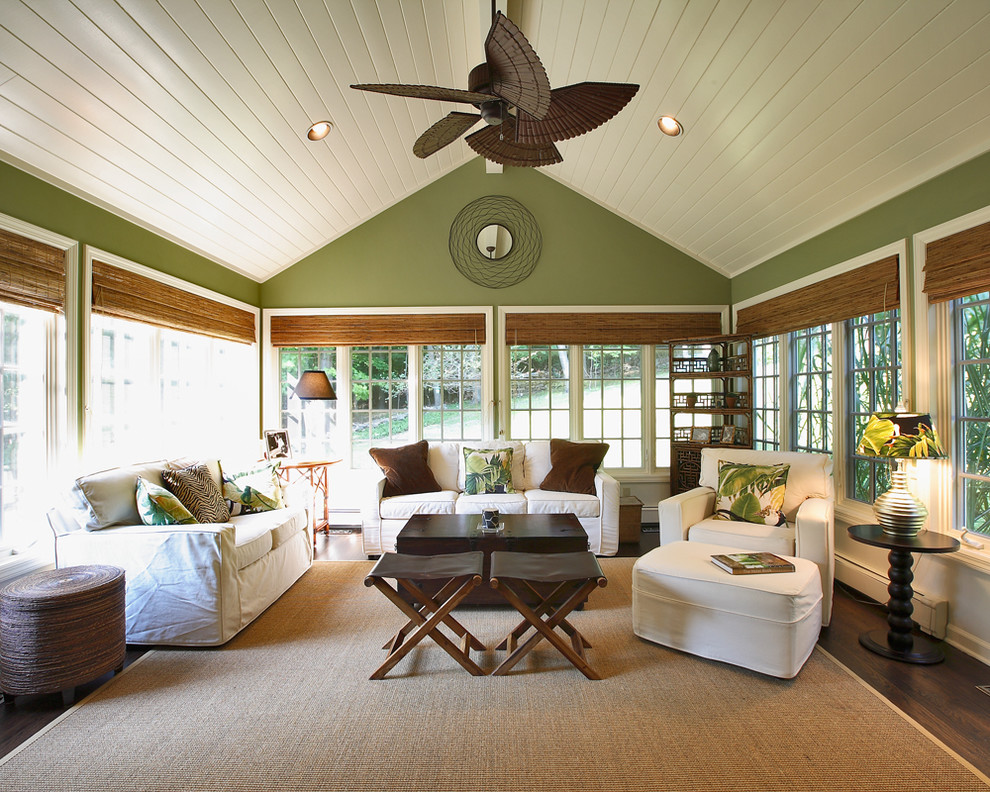 Elegant dark wood floor and brown floor sunroom photo in Other with a standard ceiling
