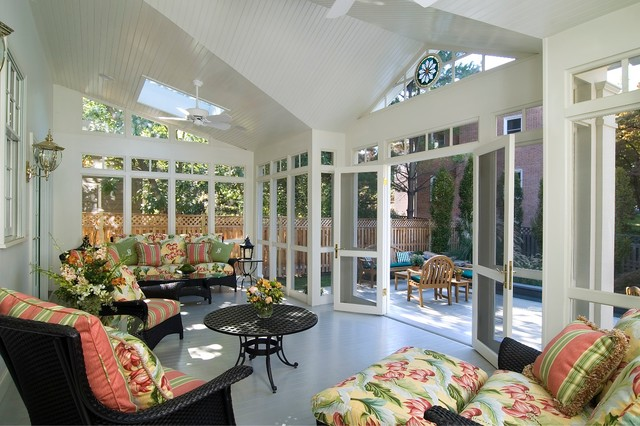 Ex&le of a large classic painted wood floor and gray floor sunroom design in DC Metro & Sunroom Door | Houzz pezcame.com