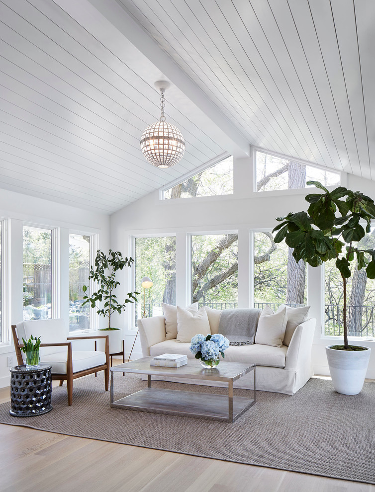 Inspiration for a large transitional light wood floor and beige floor sunroom remodel in Minneapolis with a standard ceiling and no fireplace