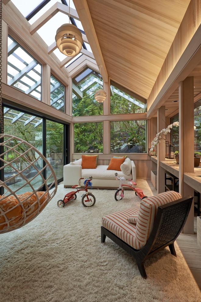 Sunroom - large contemporary sunroom idea in Portland with a skylight