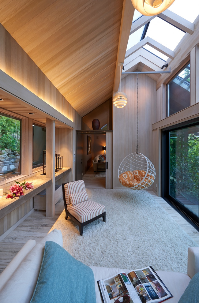 Inspiration for a contemporary sunroom remodel in Portland with a skylight