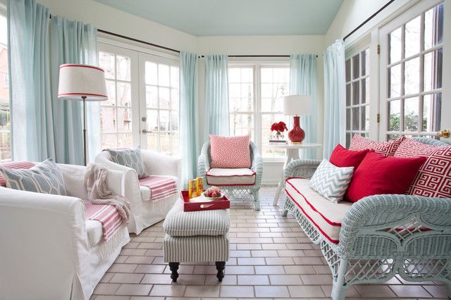 Red White And Blue Sunroom Beach Style Sunroom