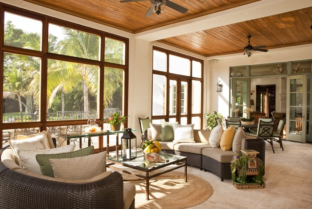 Refined florida spanish style home mediterranean Florida sunroom ideas