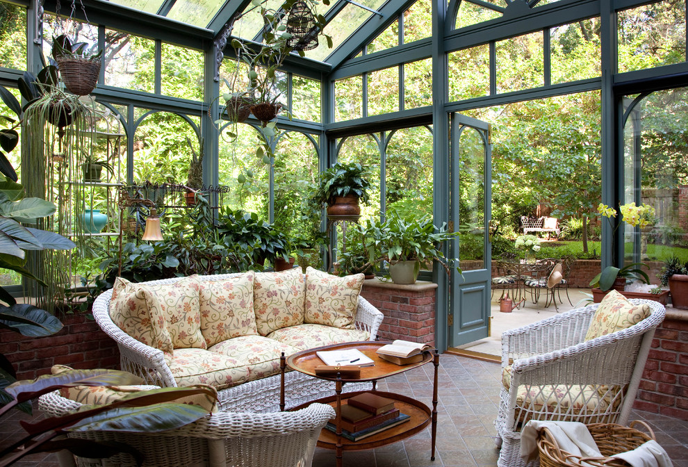 Example of a classic sunroom design in Austin with a glass ceiling