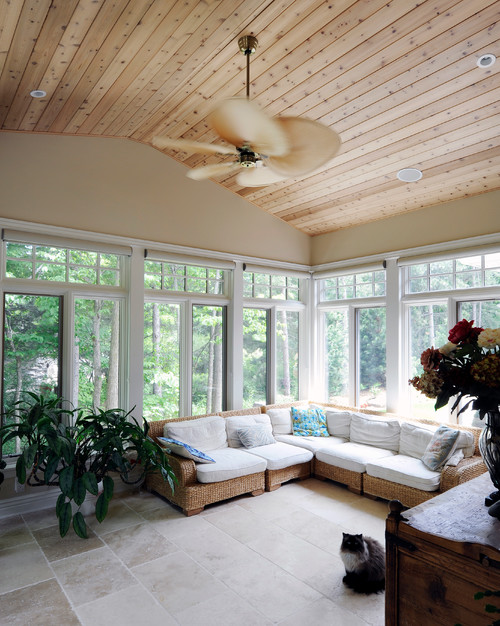 transitional-sunroom Wicker Sectional Sofas