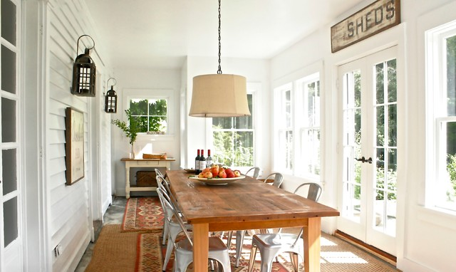 Rustic Farmhouse Dining Room Sunroom New York By Saint Onge Design