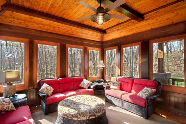 Rustic sunroom for Log cabin sunrooms