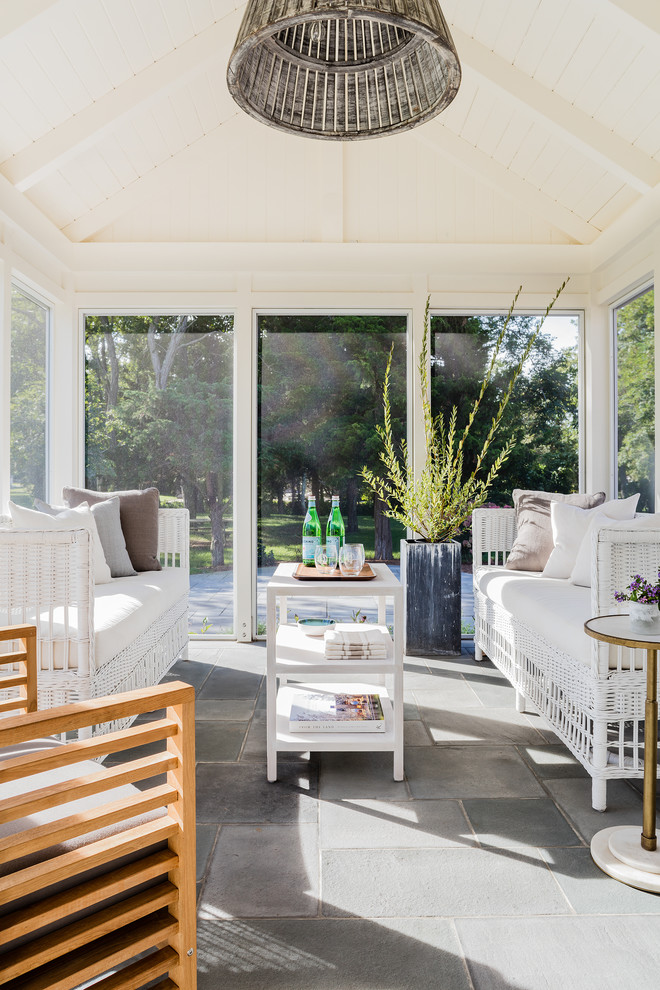 Beach style gray floor sunroom photo in Boston with a standard ceiling