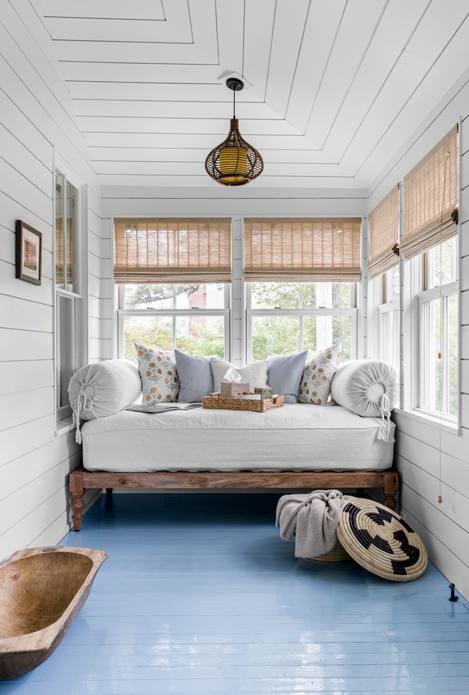 Example of a small beach style painted wood floor and blue floor sunroom design in Boston with no fireplace and a standard ceiling