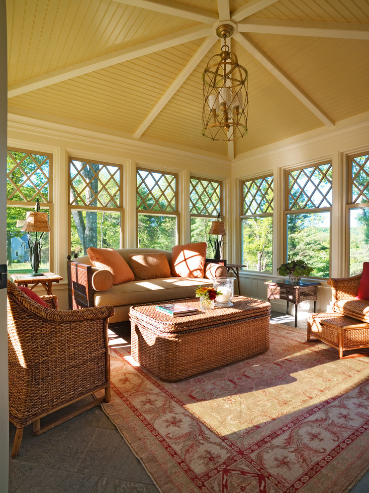 Sunroom - victorian sunroom idea in Boston with a standard ceiling