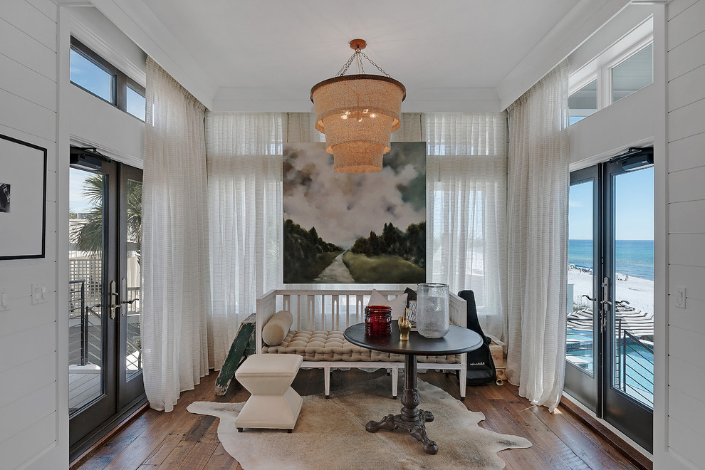 Inspiration for a huge coastal dark wood floor sunroom remodel in Miami with a standard ceiling and no fireplace