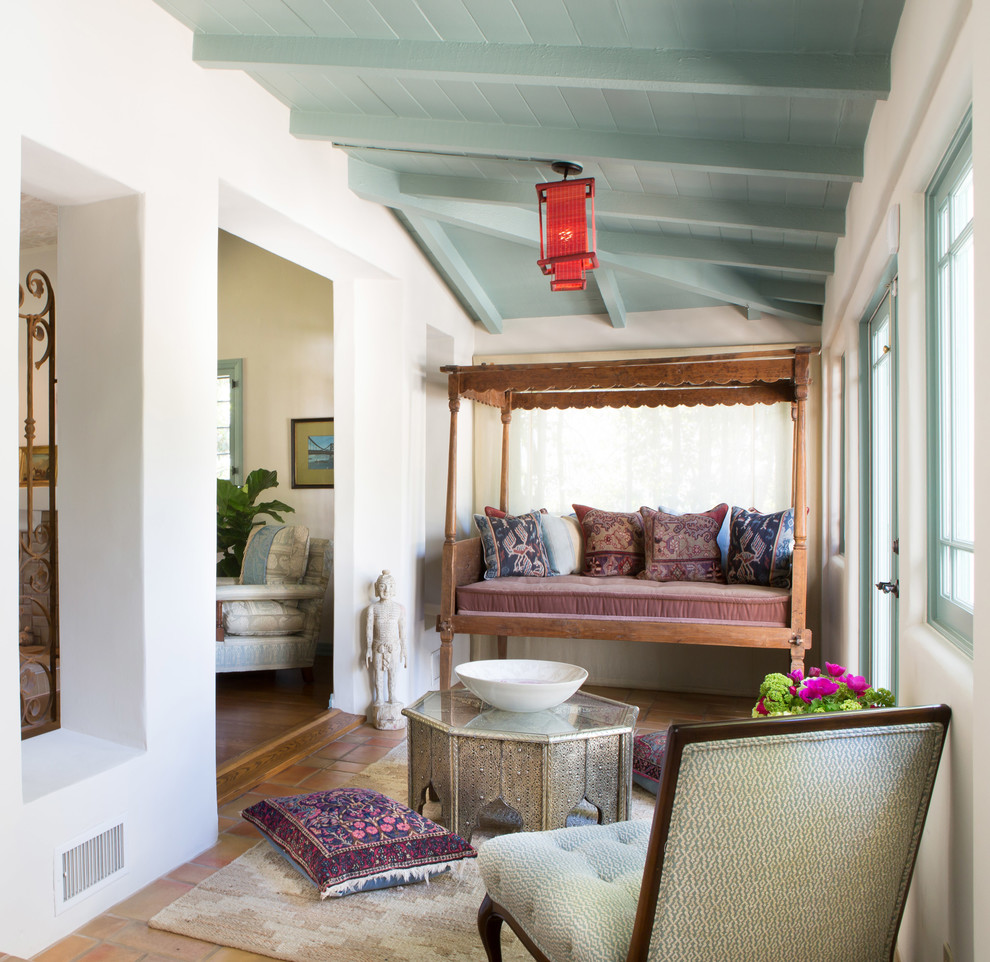Inspiration for a mediterranean terra-cotta tile sunroom remodel in Los Angeles with a standard ceiling