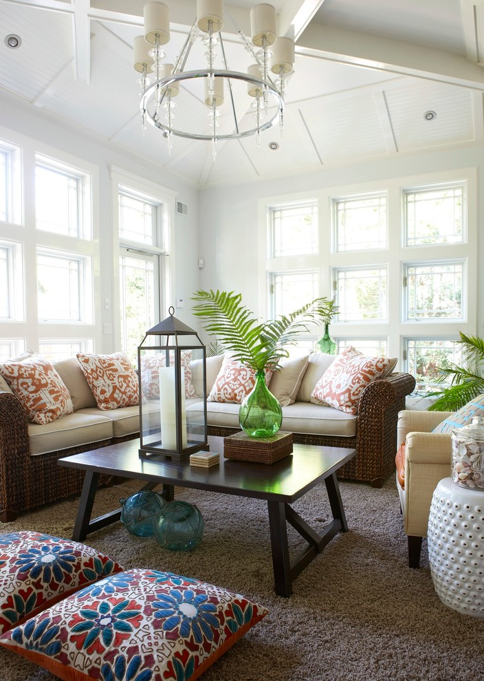Inspiration for a beach style carpeted sunroom remodel in New York with a standard ceiling