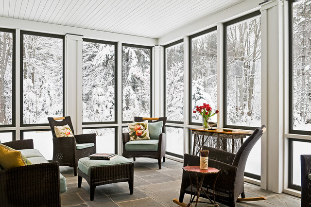 Sun Room in Winter farmhouse-porch