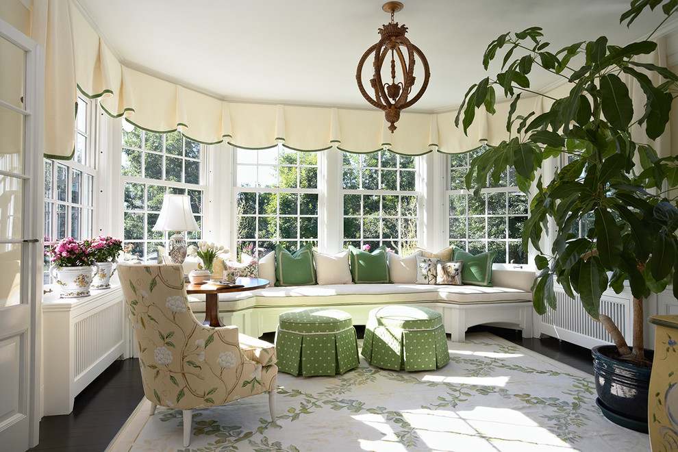 Mid-sized elegant dark wood floor and black floor sunroom photo in Minneapolis with a standard ceiling and no fireplace