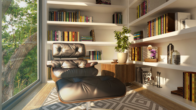 Eclectic Sunroom Sydney Sunlit Library Design - 3D Render eclectic-sunroom