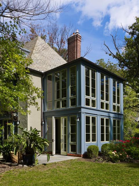 Sunroom exterior traditional landscape philadelphia for Two story sunroom