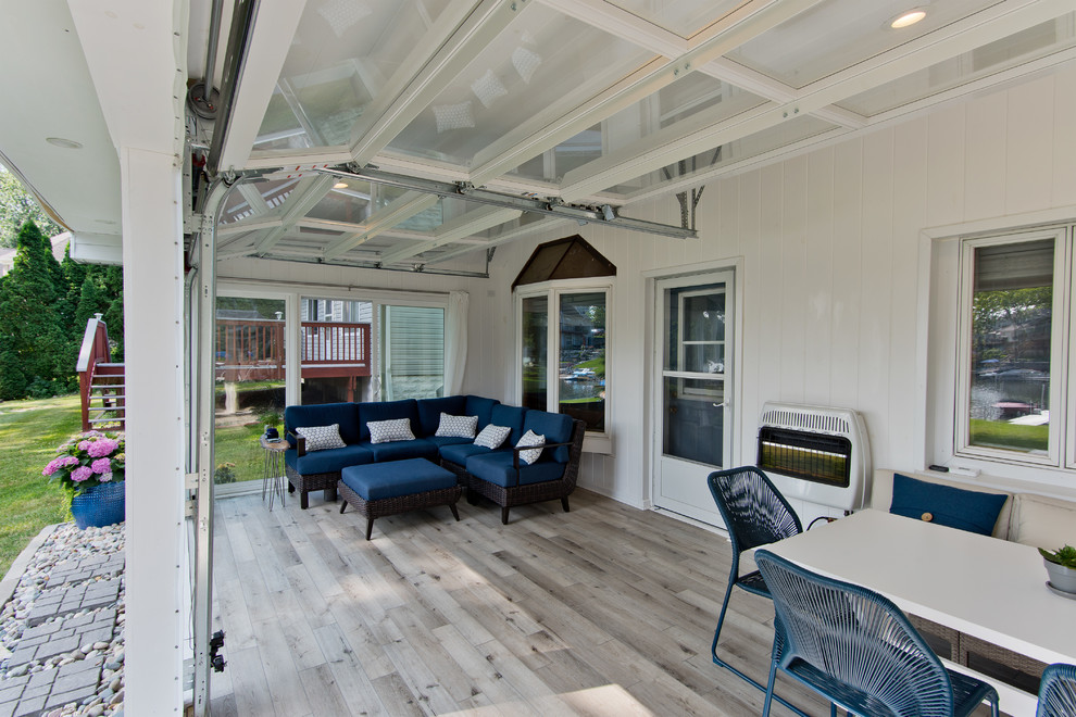 Example of a beach style sunroom design in Detroit