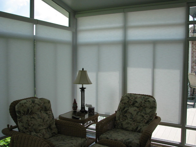 Sunroom Motorized Solar Shades Eclectic Sunroom Nashville By Lightstyle Solutions
