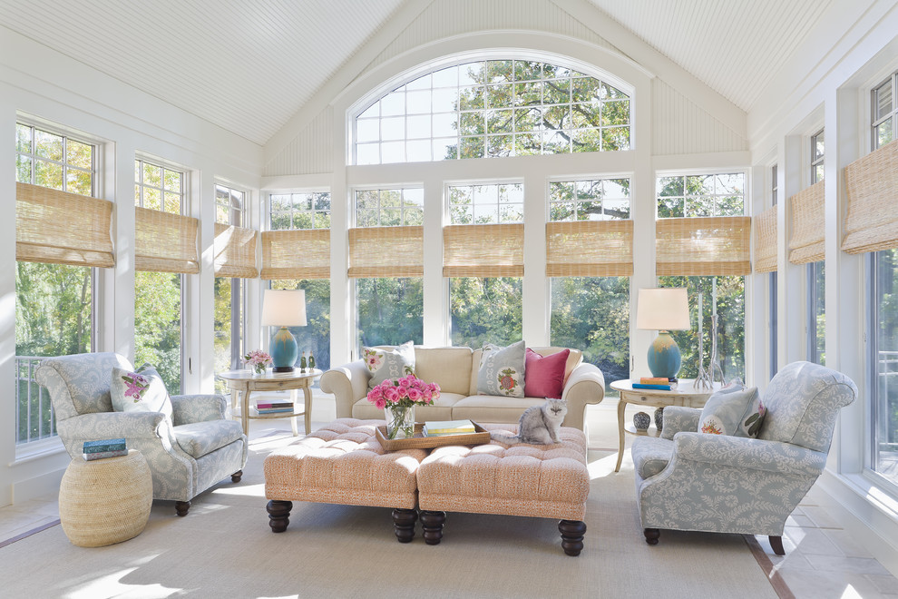 Inspiration for a large timeless gray floor sunroom remodel in Minneapolis with a standard ceiling