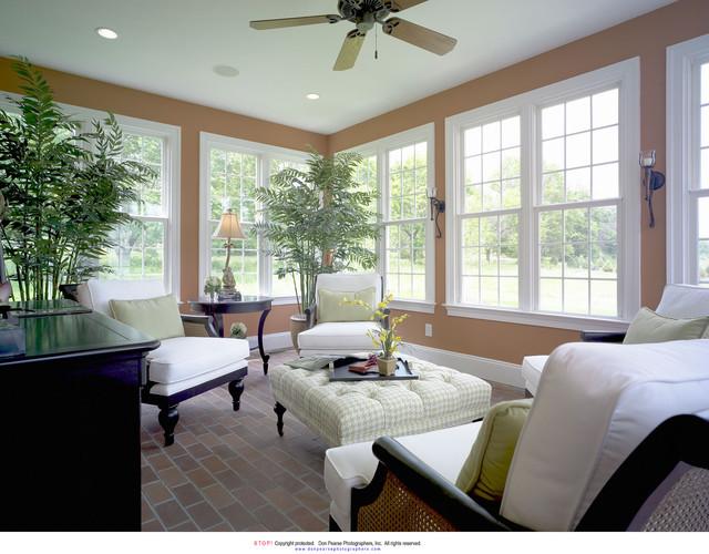 Sunroom with brick floor for Solarium flooring