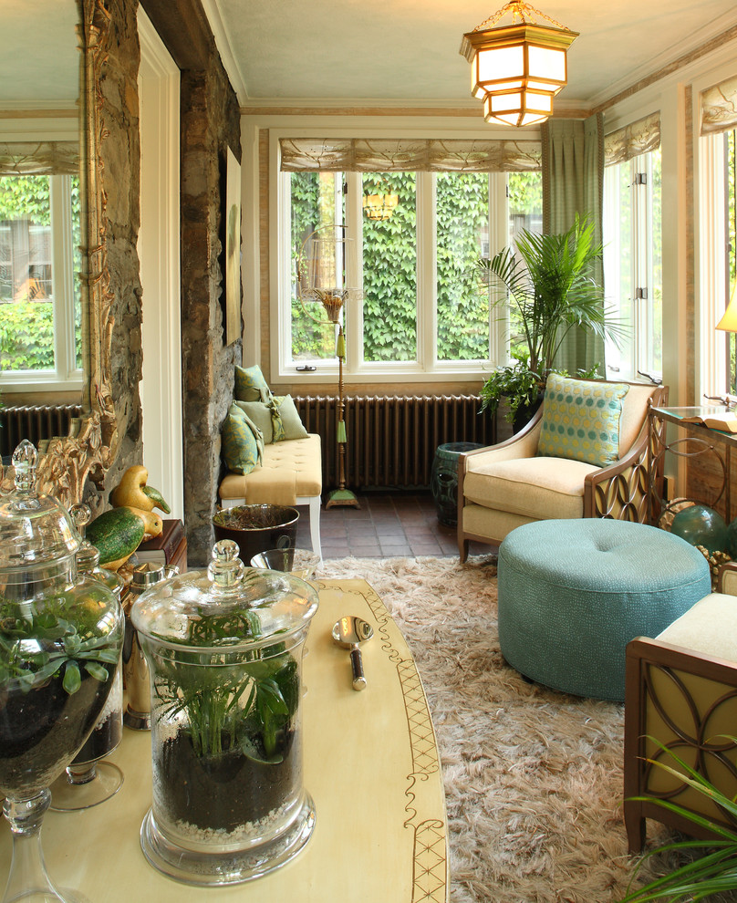 Example of a classic brown floor sunroom design in Portland Maine