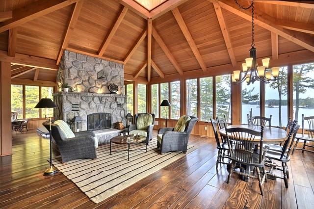 Timber frame family room in montagna veranda toronto for Timber frame sunroom addition