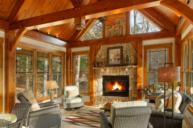 Timber frame hillsborough nc modern sunroom raleigh for Log cabin sunrooms