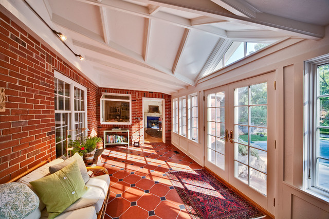 Traditional Style Sunroom Includes French Doors And French