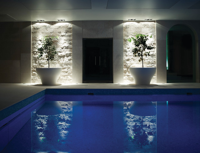 Swimming Pool With Pyranese Large Format Snap Face Travertine Tiles Contemporary