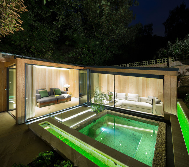 Highgate garden room contemporary pool london by for Koi pool and sauna