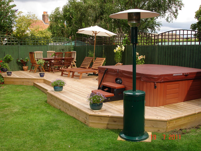 Hot tub installs traditional pool london by hot for Garden decking for sale