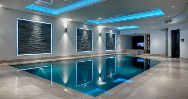 indoor contemporary basement swimming pool