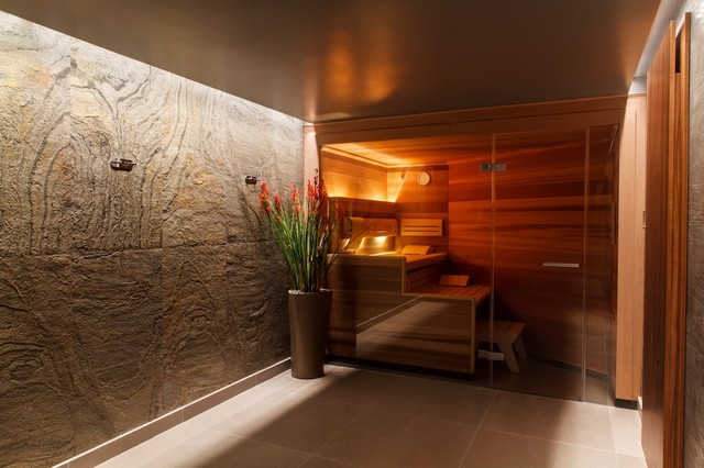 Lighting the changing room and sauna moderne piscine autres p rim tres par brilliant - Sauna exterieur jardin moderne ...