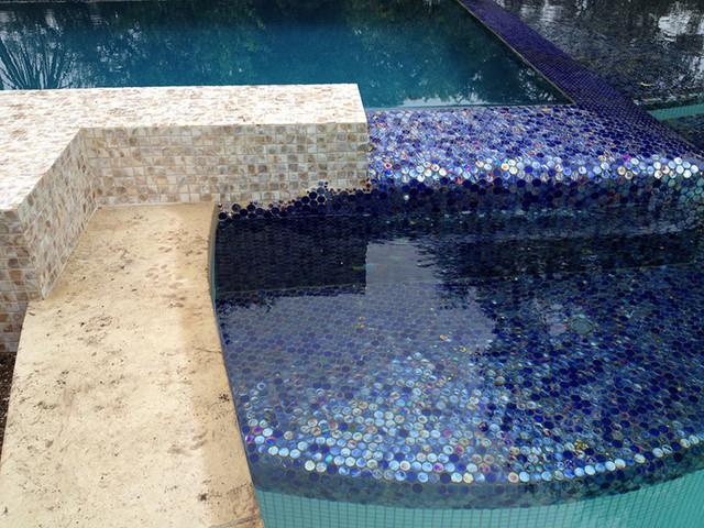 Natural Dapple Freshwater Mosaic Swimming Pool contemporary-pool