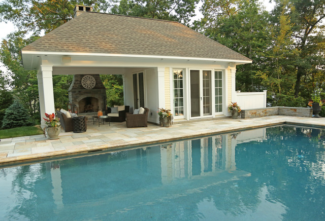 Open pavillion pool house w exterior fireplace Pavilion style house plans