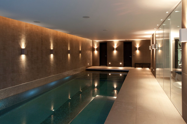 Textured Tree Bark Wall Finish along indoor swimming pool ...