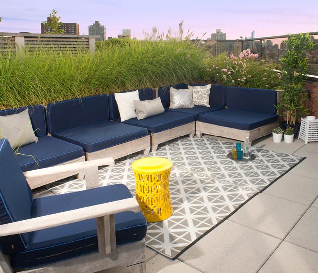 Rooftop Garden Grey White Outdoor Rug