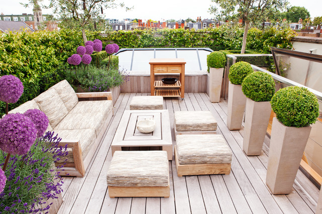rooftop furniture. Deck Container Garden - Contemporary Rooftop Idea In London Furniture