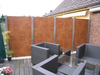 balkon abtrennung in edelstahl und trespa. Black Bedroom Furniture Sets. Home Design Ideas