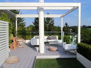 Sommerküche Für Terrasse : Dachterrasse penthouse mit sommerküche und grauen wpc