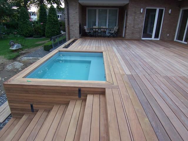 holz terrasse, holzterrasse, holzstufen, poolverkleidung - modern - terrasse, Design ideen